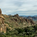 The lower part of the trail still winds among the saguaro cactus of the Sonoran Desert.- Superstition Mountain Hikes You Won't Want to Miss