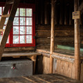 The ladder to the loft and a sleeping space below it inside Butler Lodge.- Incredible Mountain Huts + Lodges in New England