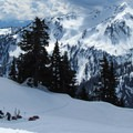 Making camp below the Kulshan Ridge crest.- 35 Amazing Snowshoe Trails in Washington