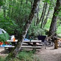 Toketee Lake Campground is tucked away in the trees.- Camping Near Crater Lake National Park