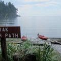 The kayak launch at Smallpox Bay.- Kayaking in the San Juan Islands