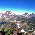 The Three Sisters from Broken Top's summit (9,177 ft).- 30 Best Hikes Near Bend, Oregon