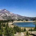 Green Lakes looking quite blue, with South Sister beyond.- Broken Top
