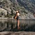 Cooling off after a long hike in the Trinity Alps.- Hiking in the Trinity Alps