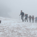 Hiking through a cloud on the way to Camp Muir.- 70 Leg-Burning Adventures in the West