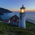 Sunset view from above Heceta Head Lighthouse.- A Guide to Exploring Oregon's Lighthouses