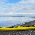 View from North Beach to Matia Island.- Kayaking in the San Juan Islands