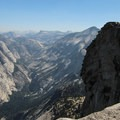 One hiker overjoyed by his accomplishment of summiting Half Dome.- Yosemite National Park
