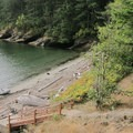 A view into Echo Bay from the hiking trail on Sucia Island.- San Juan Islands