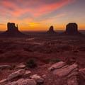 From left: West Mitten, East Mitten, Merrick Butte.- Monument Valley Navajo Tribal Park