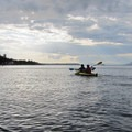 Dusk paddling near Matia Island.- Kayaking in the San Juan Islands