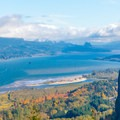 Fall view from the Women's Forum to Vista House and the Columbia River Gorge.- Portland Women's Forum State Scenic Viewpoint