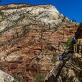 The last set of chains leads hikers to the mouth of Hidden Canyon.- Utah's Five National Parks