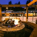 Warming fires at Northstar Village allow spectators to stay toasty beside the rink.- California Winter Adventures Beyond the Ski Slopes
