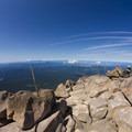 Summit of Mt McLoughlin, with Fish Lake on the right.- 10 Ideal Summits for First-Time Mountaineering