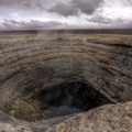 The sheer-walled crater formation of Diana's Punchbowl.- Adventuring across Nevada's Highway 50