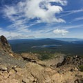 Mount McLoughlin Hike: On the way back down, keeping Fourmile Lake in sight.- Oregon's 75 Best Day Hikes