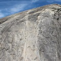 Looking up at the Half Dome route when the cables are up.- Climbing Half Dome In The Shoulder Season