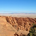 Elevated view to the northeast across the fins to be traveled on the Primitive Loop Trail.- Arches National Park