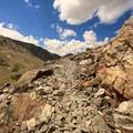 Very rocky trail.- Blue Lakes Trail