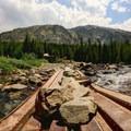 Bridge crossing.- Blue Lakes Trail