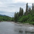 South Fork of the Stillaguamish River from Boardman Creek Group Campground.- Mountain Loop Highway Itinerary