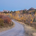 After sunset through aspen groves along the Dallas Divide Scenic Route.- Great American Towns for Fall Foliage