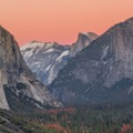 Straight look through the valley from Tunnel View just after sunset.- Tunnel View