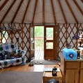The interior of the Phoenix Ridge Backcountry Yurt is simple and functional.- Glamping