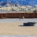 Community fire pits at Fiddler's Campground.- Camping in Death Valley National Park