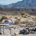 Tent camping at Mesquite Spring Campground.- Camping in Death Valley National Park