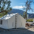 Tent cabins at Panamint Springs.- Camping in Death Valley National Park