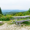 Picnic table at Mount Kearsarge.- A Fall Family Road Trip Through New Hampshire