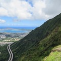 The Kulana'ahane Trail terminus at the H3 overlook. Views of the windward side of the island and Moanalua Saddle Ridge.- Hawaii's Best Day Hikes
