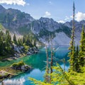 Your first view of Minotaur Lake as you enter the basin.- The Pacific Northwest