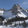 Sundial Peak (10,320 ft) in winter.- Twin Peaks Wilderness