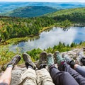 Lake Solitude down below.- Best New Hampshire Towns for Family Adventure