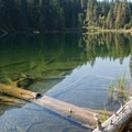 Clear shallows of hidden lake.- Oktoberfest in Leavenworth