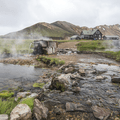 Water outflow over the Luagavegur Trailhead.- Must-Visit Hot Springs in Iceland
