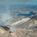 Sulfur vents actively smoking from the lava dome within the crater.- Mount St. Helens National Volcanic Monument