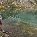 Getting some water to filter from Liberty Lake.- Ruby Mountains Wilderness