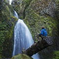 Taking in the granduer at Wahkeenah Falls.- Wahkeena Falls/Multnomah Falls Loop Hike