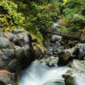 Little Hamilton Mountain Hike: Looking down on the second bridge from Pool of the Winds and Rodney Falls.- Wildflowers in the Columbia River Gorge - 10 Hidden Gems