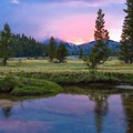 Sunset after a thunderstorm at Lower Cathedral Lake near Tuolumne Meadows.- Groves, riots, and Sundry Summer Flora Assemblies