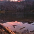 Sunset over the lower Bellas Lake.- Best of the Sawtooths in Summer