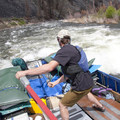 Passing the Artillery Ledge hole on the Middle Fork of the Salmon in the commercial sweep boat.- Must-Do Rafting Trips in the West