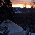 Sunrise over the White Clouds Peak at the Williams Peak Hut in the Sawtooth Mountains.- 10 Winter Huts You Should Visit
