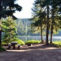 Typical lakeside campsite at Timpanogas Campground.- Best Year-Round Camping in Oregon
