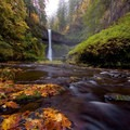 Middle North Falls during a low flow autumn.- Silver Falls, Trail of 10 Falls