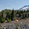 Backcountry campsite with South Sister (10,358') in the background.- 70 Breathtaking Backcountry Campsites